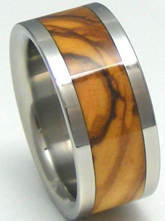 Titanium Bethlehem Olivewood Wedding Band His or Hers HOLY LAND Wooden Rings