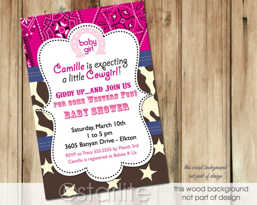 Starlite Printables Invitations + Stationery: Cowgirl, Western ...