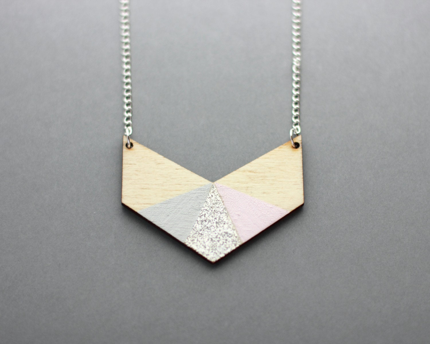 Three Colour Glitter Wooden Chevron Necklace (Pink - Grey - Silver) - Modern Handmade Jewellery - FawnAndRose
