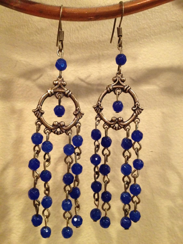 Blue Sapphire Chandelier Earrings by OriginBrooklyn on Etsy