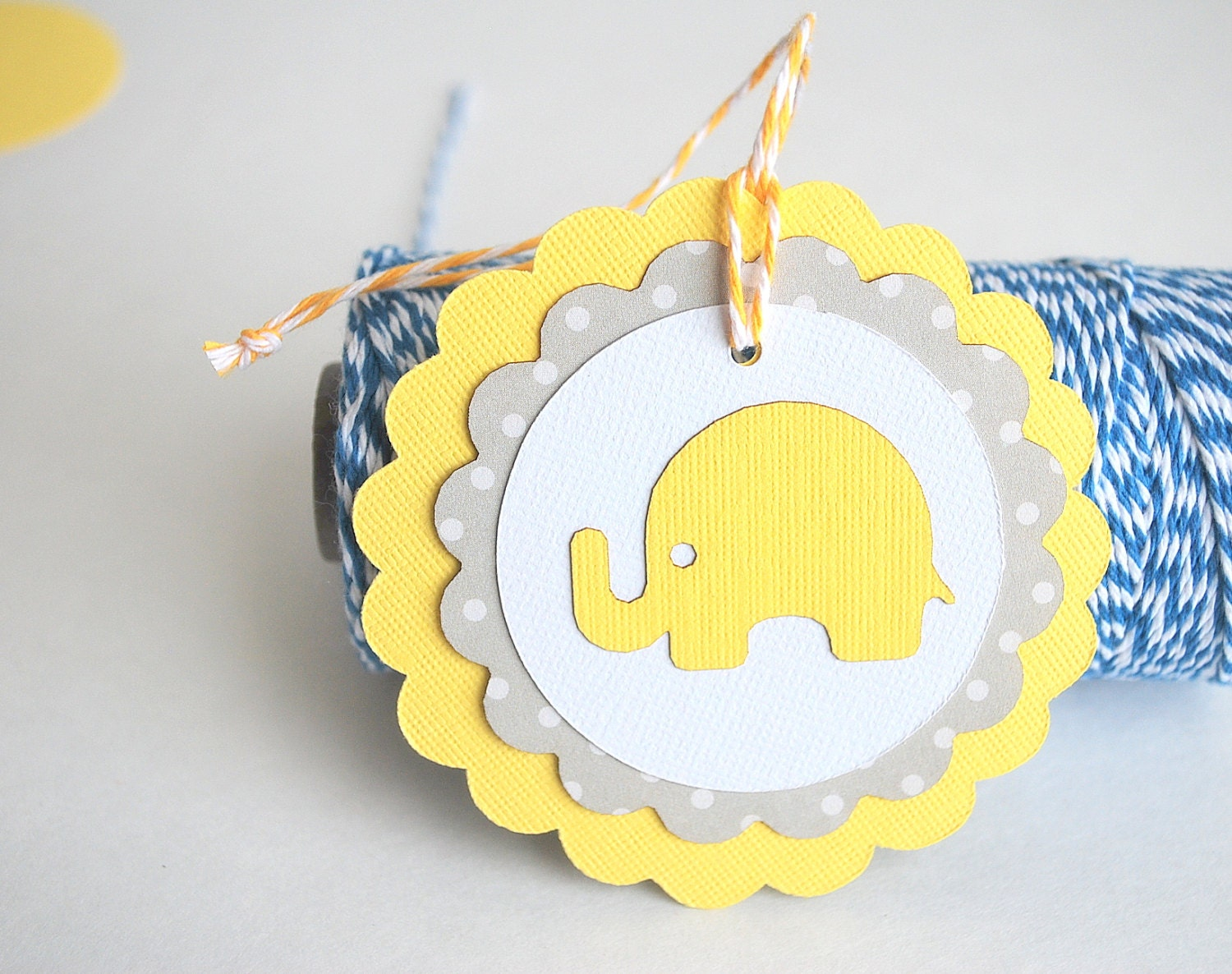 6 Baby Elephant Tags, Baby Shower Yellow and Grey polka dot Cardstock tags 3.0 INCHES A748