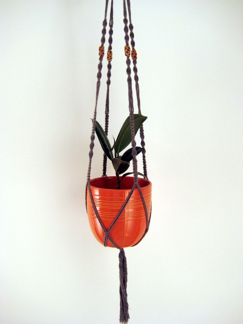 Items similar to Macrame Indoor Plant Hanger - Hand Dyed Clay Color ...