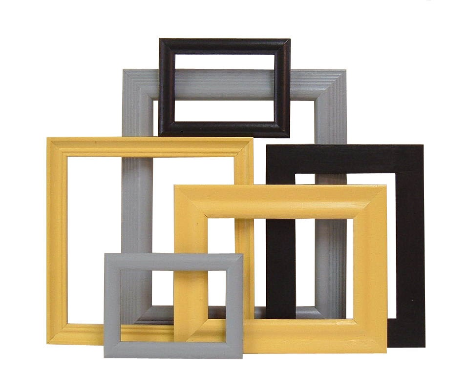 picture frames mustard yellow black grey by. Black Bedroom Furniture Sets. Home Design Ideas