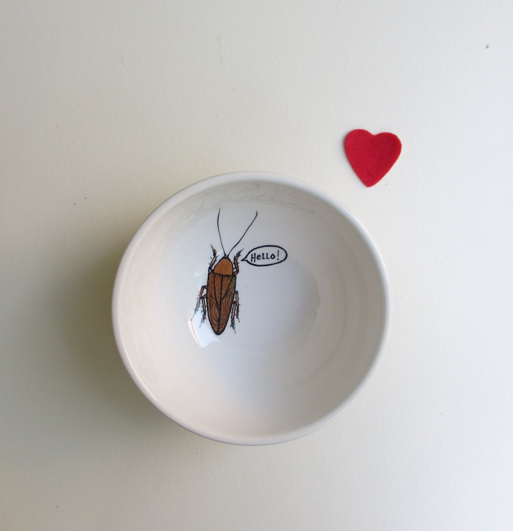 White ceramic bowl, brown cockroach insect bowl, Hello cereal bowl, Valentine's day gift for boyfriend - catherinereece