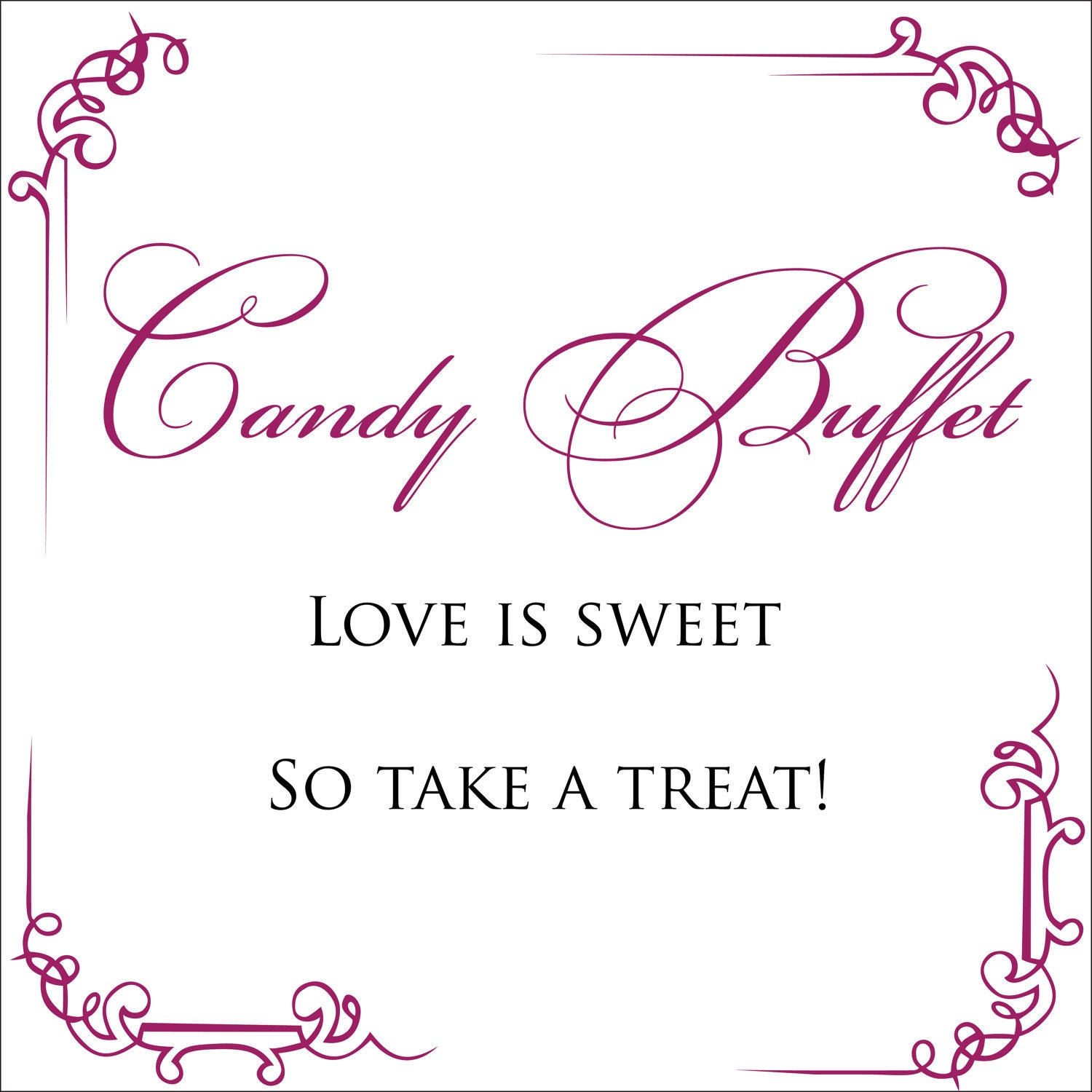 Simple wedding candy buffet sign digital file by weddingmonograms for Wedding signs templates