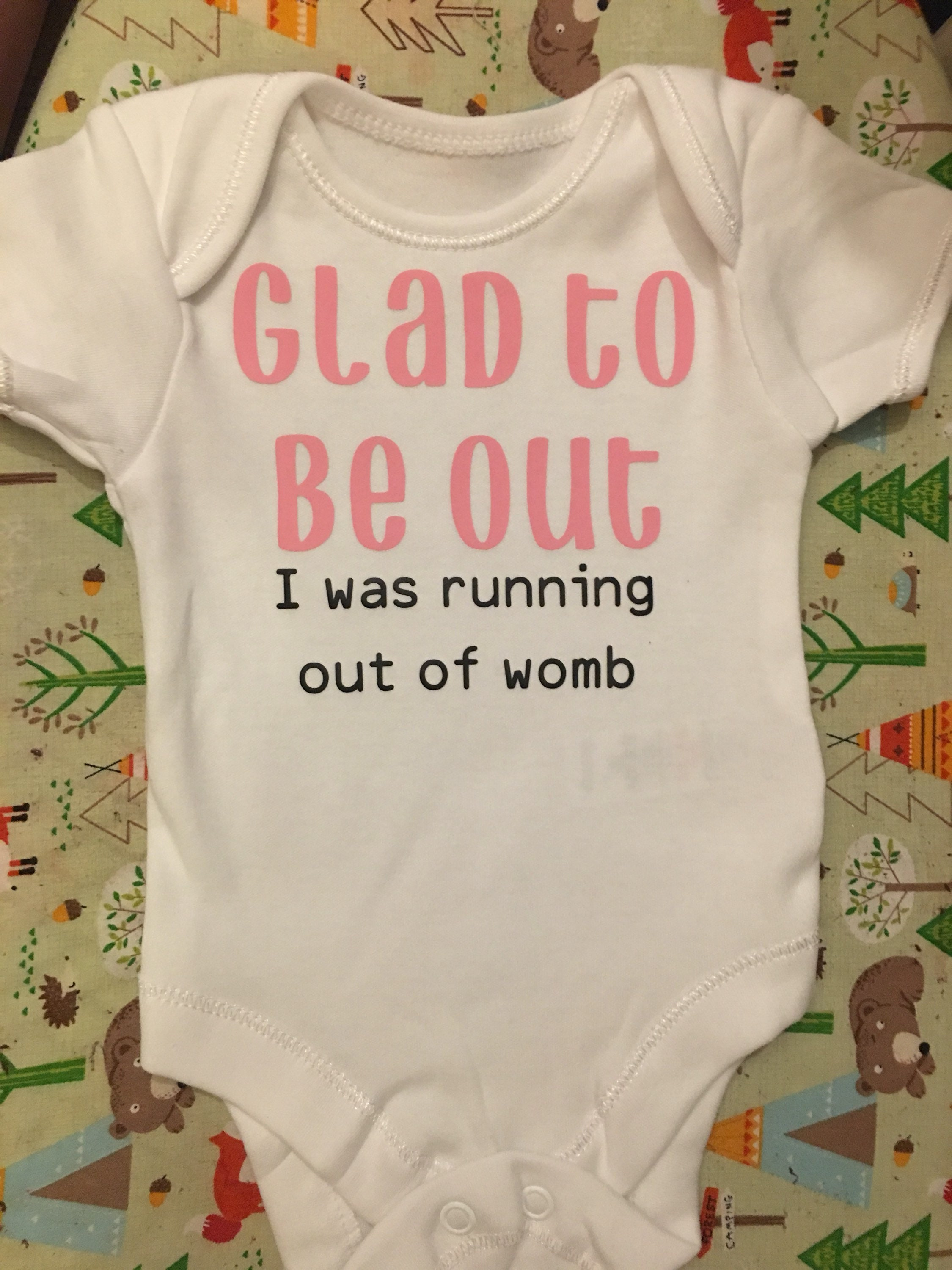 Glad to be out baby grow, Funny Baby Grow, Baby Shower Gift, Funny Babysuit, Funny Babygrow, New Baby Gift, Funny Baby Gift, Offensive Gift