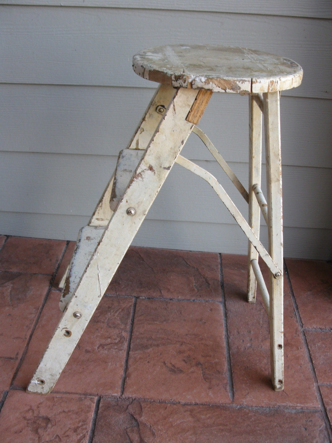 Vintage Wooden Step Stool Ladder Chippy Paint By