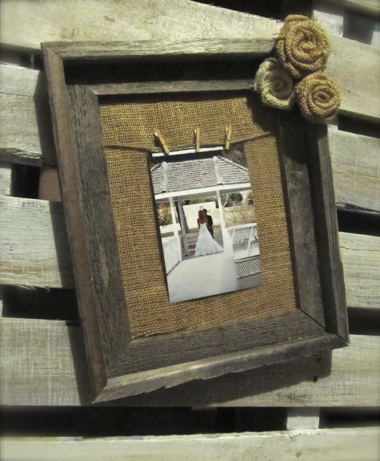 Items similar to Burlap Frame - Rustic Wood Frame with Twine Hanger ...