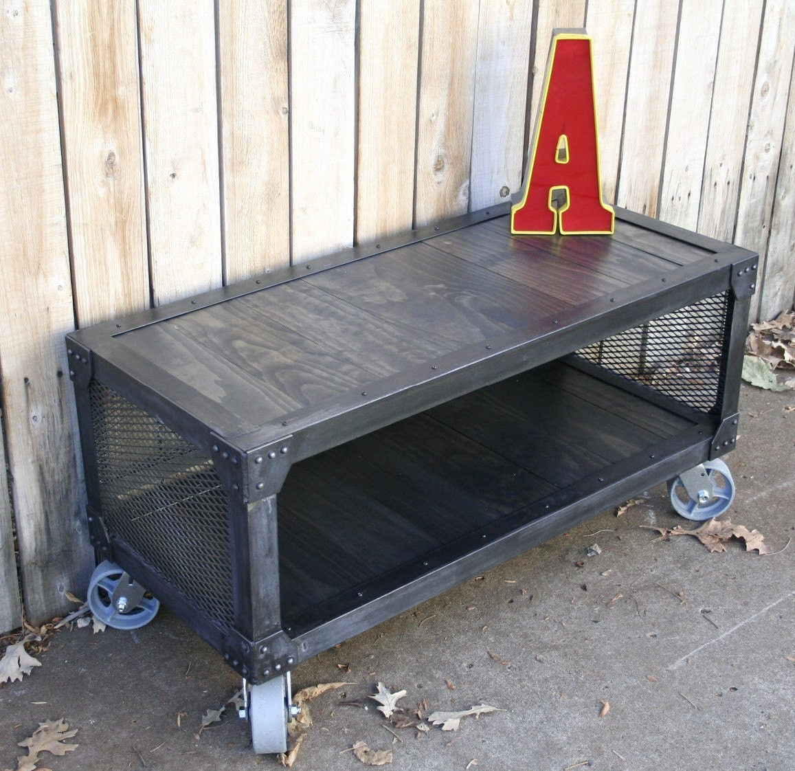 Rolling Coffee Table With Storage: Handmade Rolling Metal Media Cabinet TV Stand By JReal On Etsy