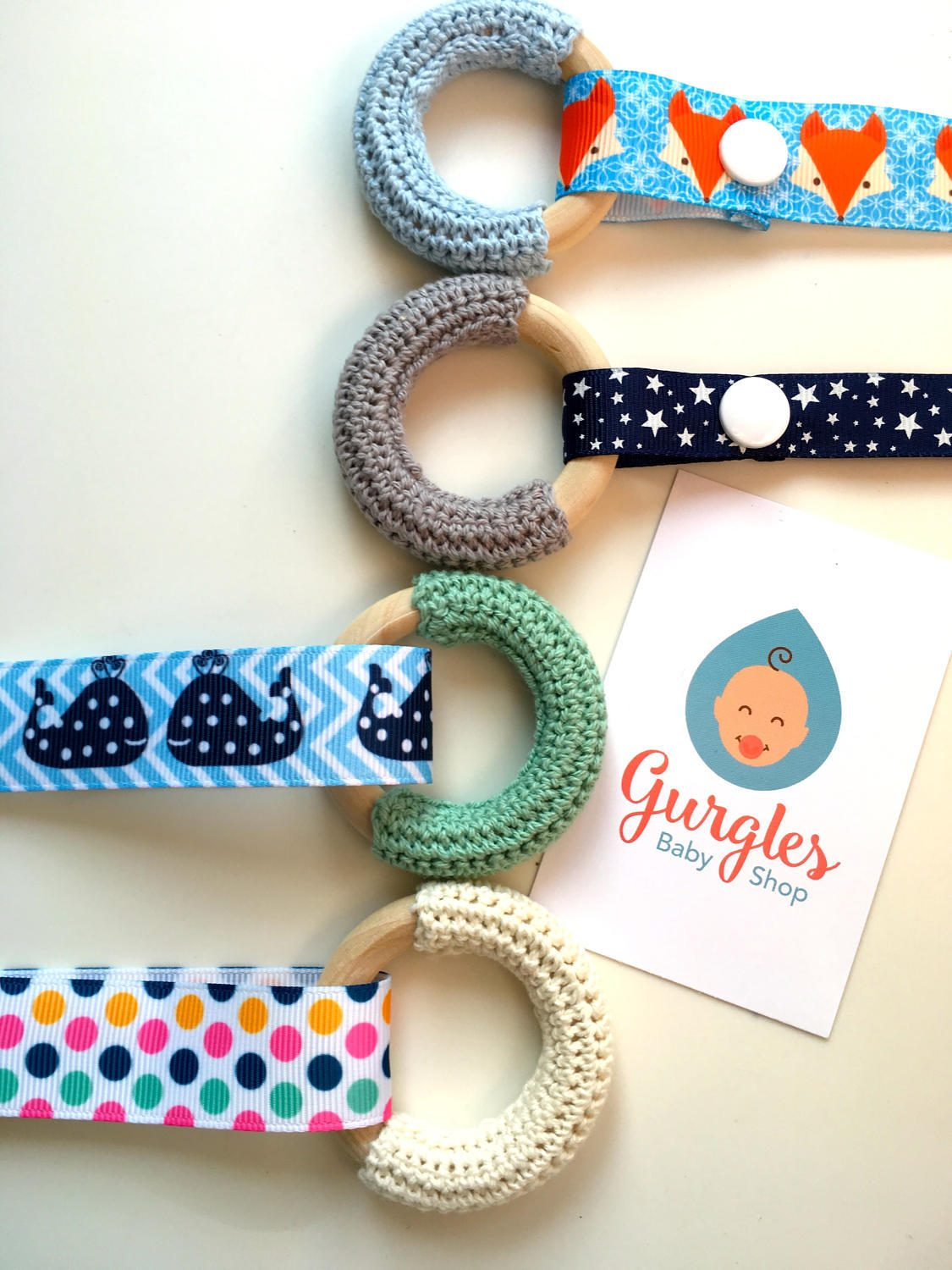 Natural baby teether crochet wooden teething ring with clip  mini gift set teething