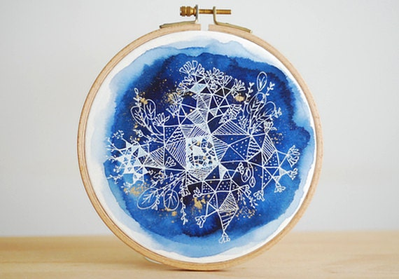 Constellation Gardens, Embroidery Hoop Art, Original Watercolor Painting, Indigo Geometric Nature, Floral Art, Wall Decor, 6.5'' - inesrocio