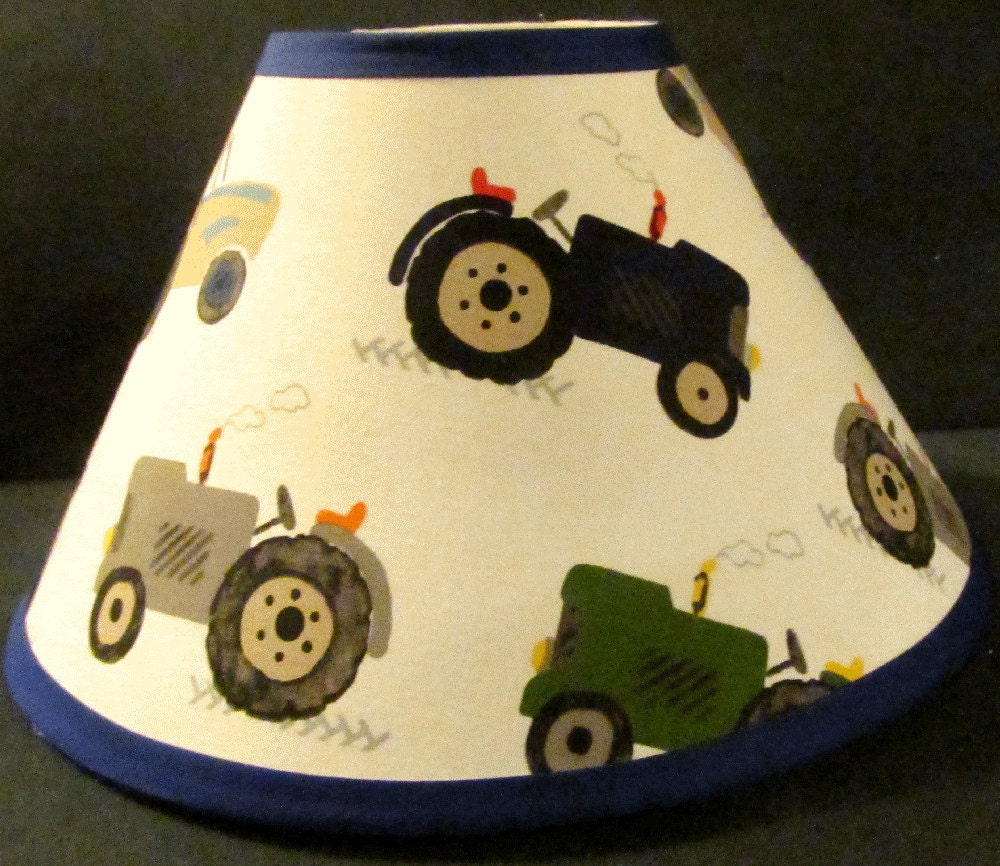 Tractor Lamp Shades : On sale tractor boys lamp shade made match by buttonsn bows