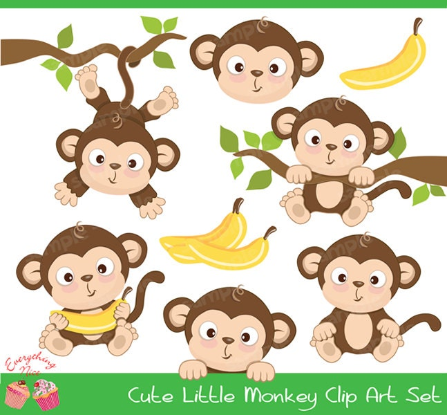 Cute Little Monkey Clipart Set by 1EverythingNice on Etsy