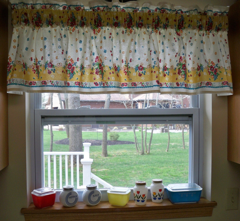 Kitschy Kitchen Vintage 50s Window Valance Cherries By