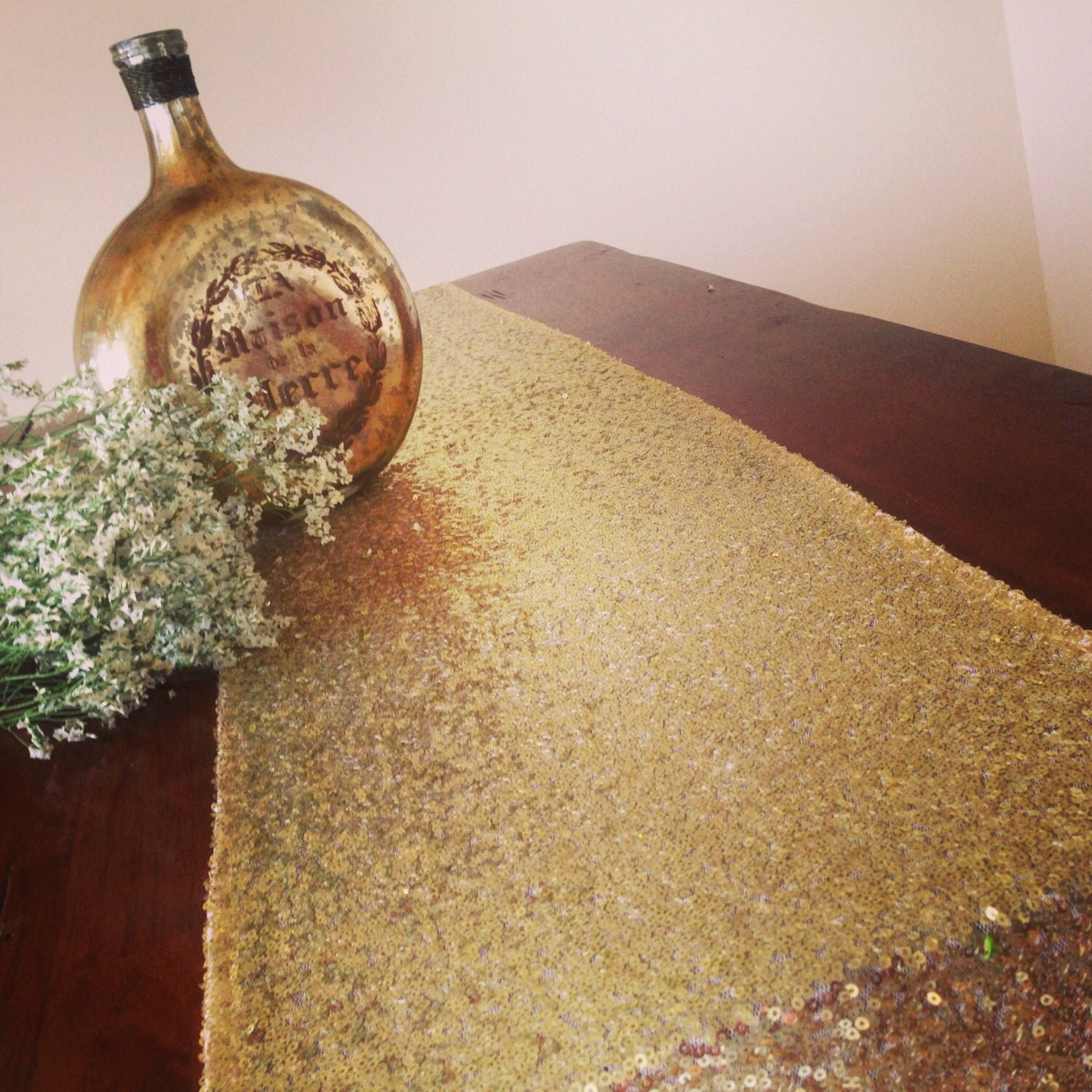 Gold sequin table runners tablecloth overlays ships 1 by for 12 foot table runner