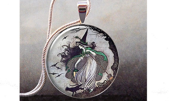 Antique Fairytale Witch art pendant charm, resin pendant picture pendant photo pendant(183)