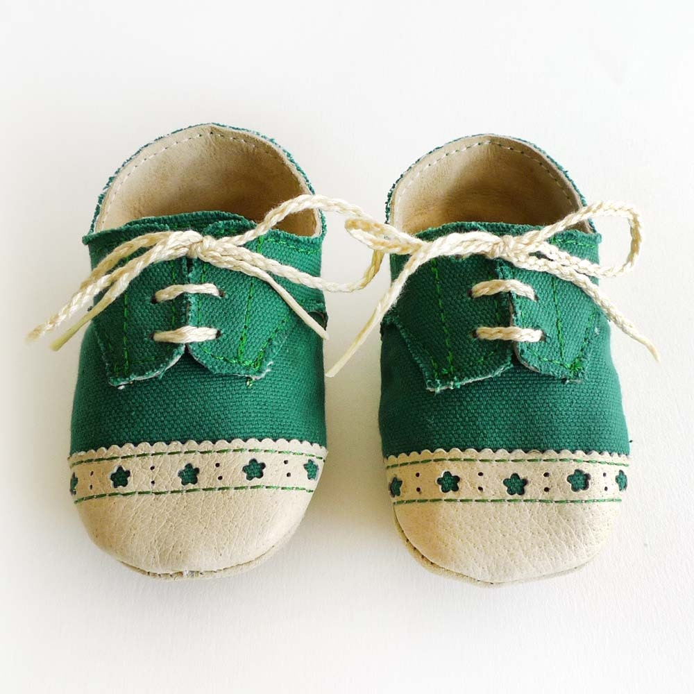 Baby Shoes Boy or Girl Green Canvas with Brogued Leather Crib Shoes