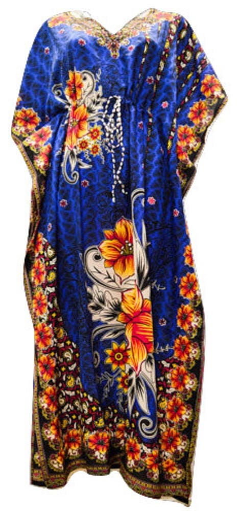 Plus Size Paisley Floral SummerFestival Print Drawstring Batwing Sleeve Kaftan Blue