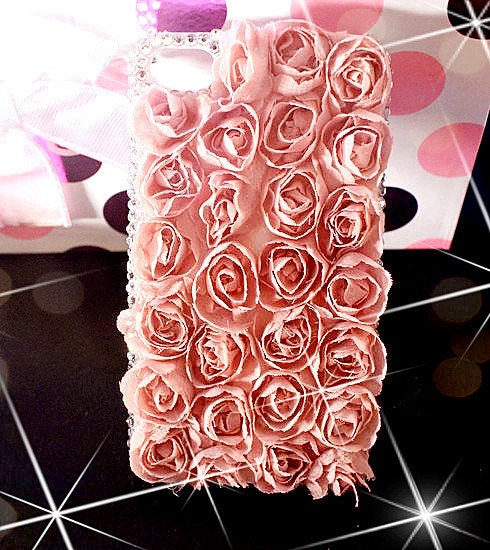 New All Lace Rose Flowers with Crystals On Edges Case For Apple iPhone 4/4S
