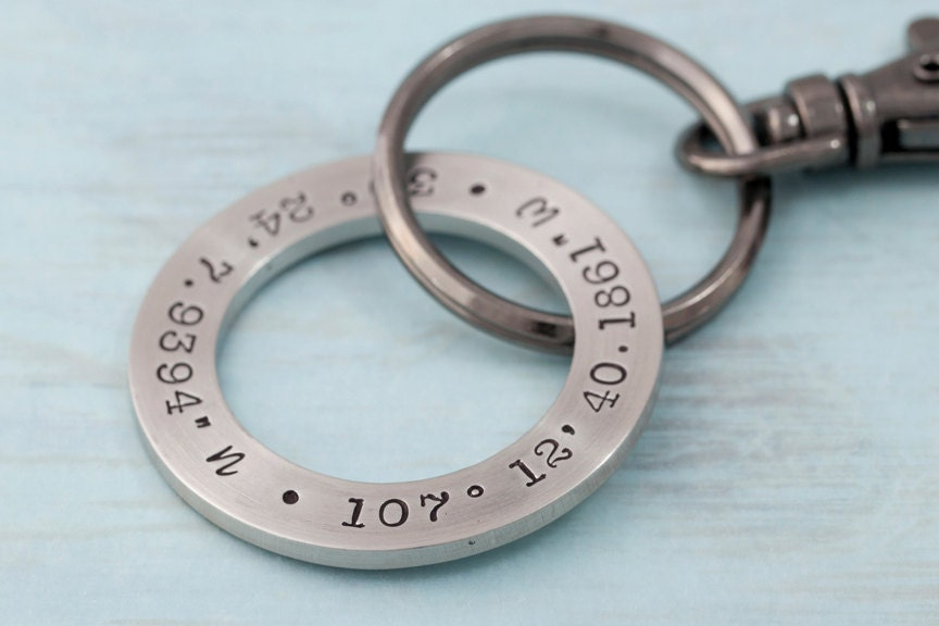 Personalized Key Chain - GPS Coordinates Key Chain--A Gunmetal Gems Exclusive--