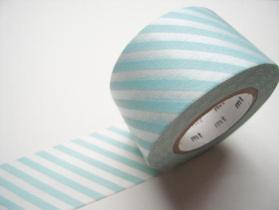 Discontinued-Wide Japanese Washi Masking Tapes / Light Water Blue Stripes 30mm for showers, cards, tags, invitations, packaging - littlehappythings1