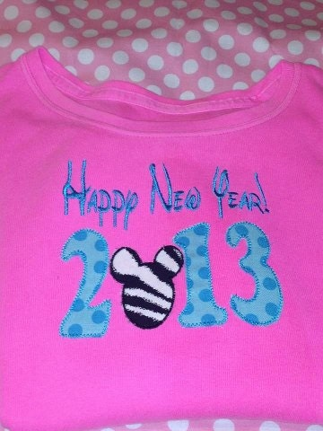 Mickey Mouse 2013 Happy New Year Applique Embroidery Design - StitchedPINK
