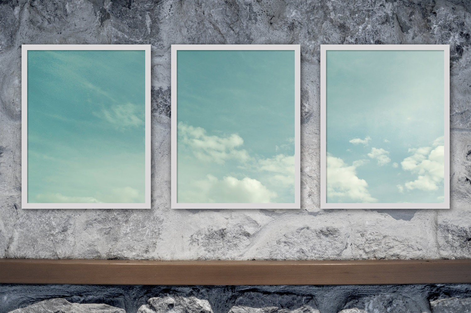 "Cloud Photography - Sky Photography Gift Idea blue teal turquoise sky clouds wall art - 11x14 Photography ""Head in the Sky"" Triptych - andpersandstudio"