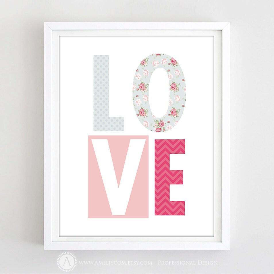 Printable Valentine Decor Poster Print Love Shabby Chic