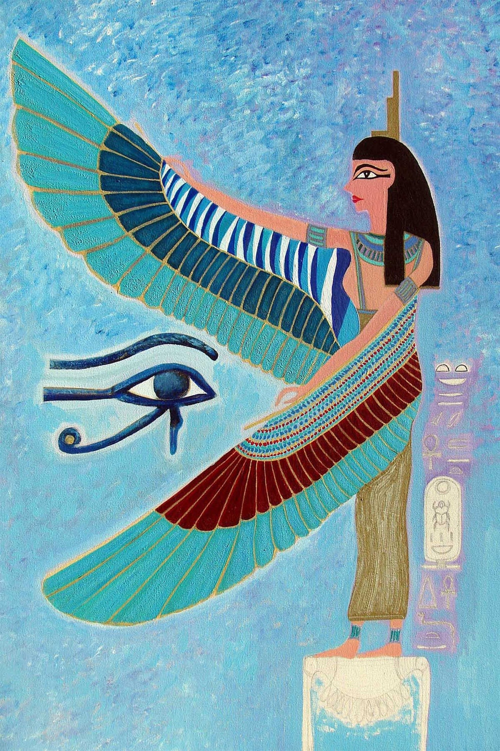 fine art print 8x10 blue Isis green turquoise wings golden dark red - lancerika