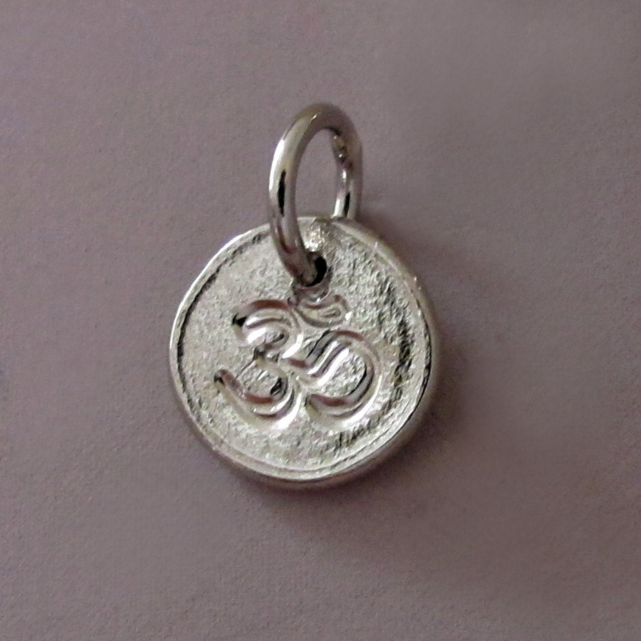 tiny 14k palladium white gold om ohm charm or pendant by