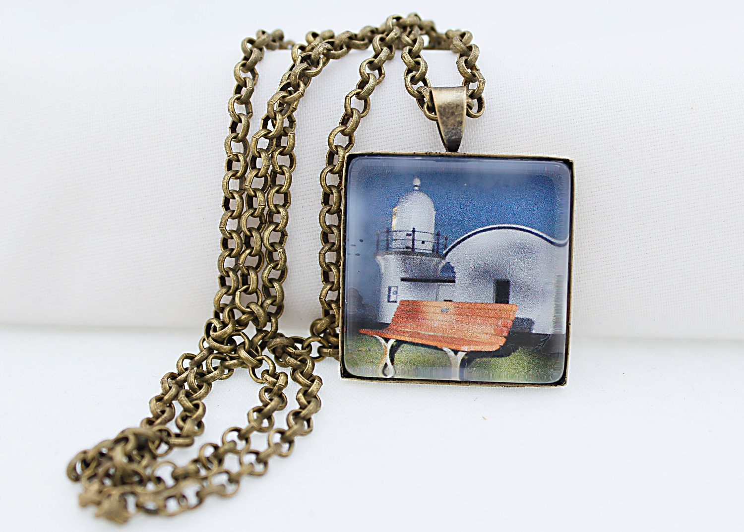 Beach Lighthouse Necklace, Vintage Bronze, Photography, Photo Jewelry, Historical Place - BeadsMe