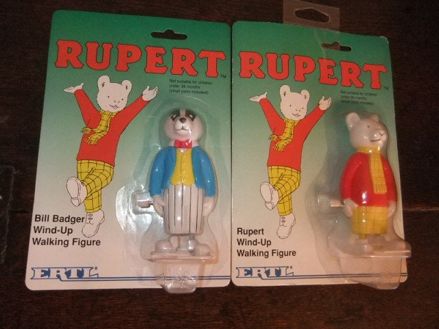 Carded Vintage ERTL Bill Badger and Rupert bear Wind up Walkers collectible