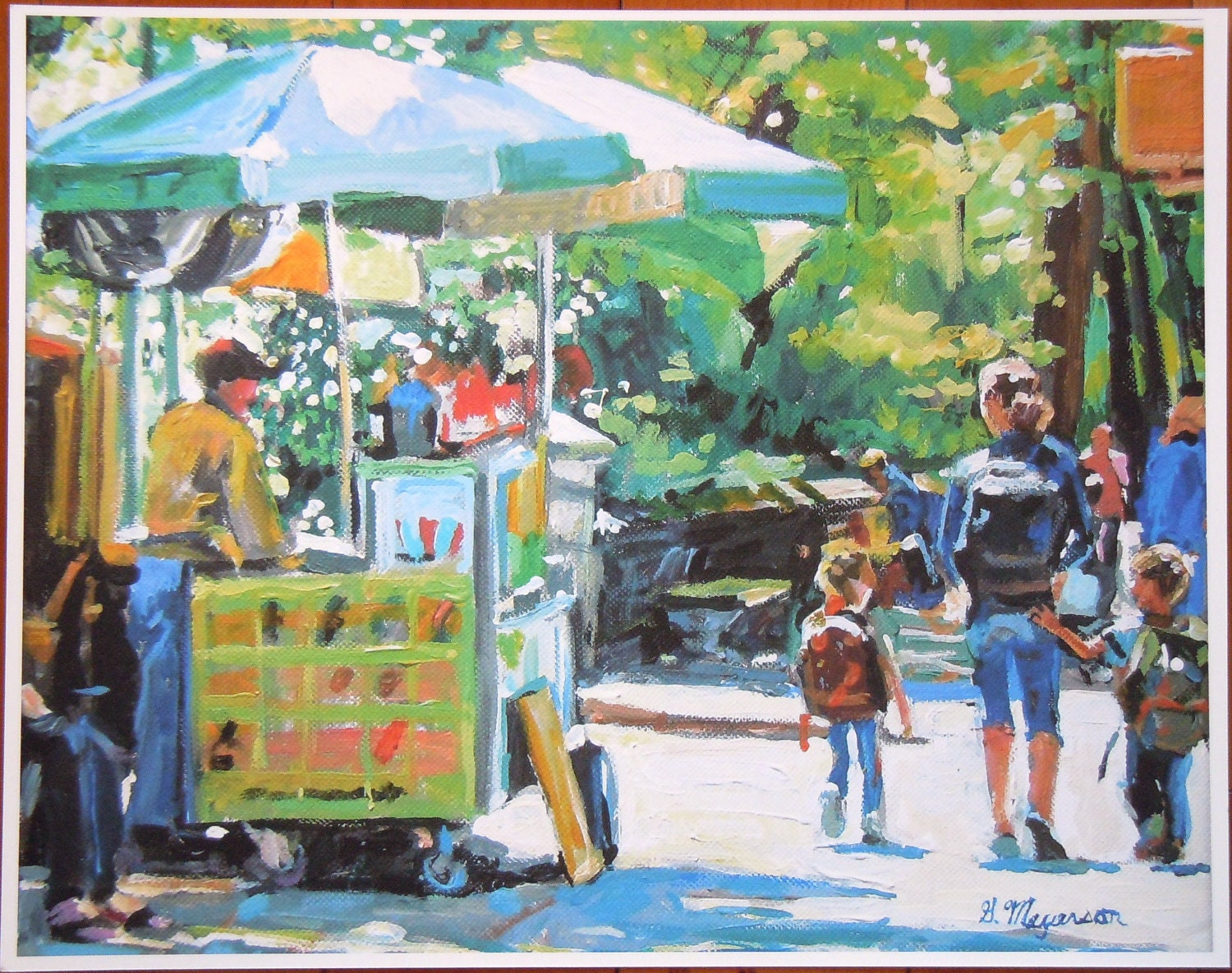 "Large 12x15 Fine Art Print, ""Central Park Vendor"" New York City Summer yellow green Cityscape Painting by Gwen Meyerson"