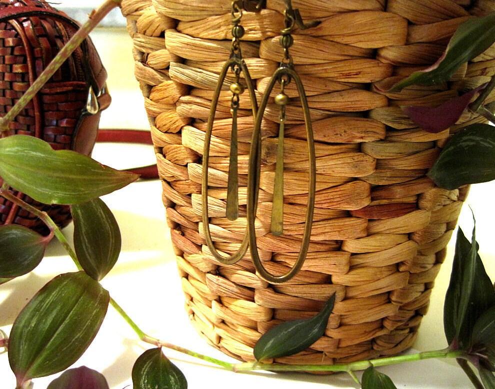 The Long Drop - Brass Ethnic Earrings