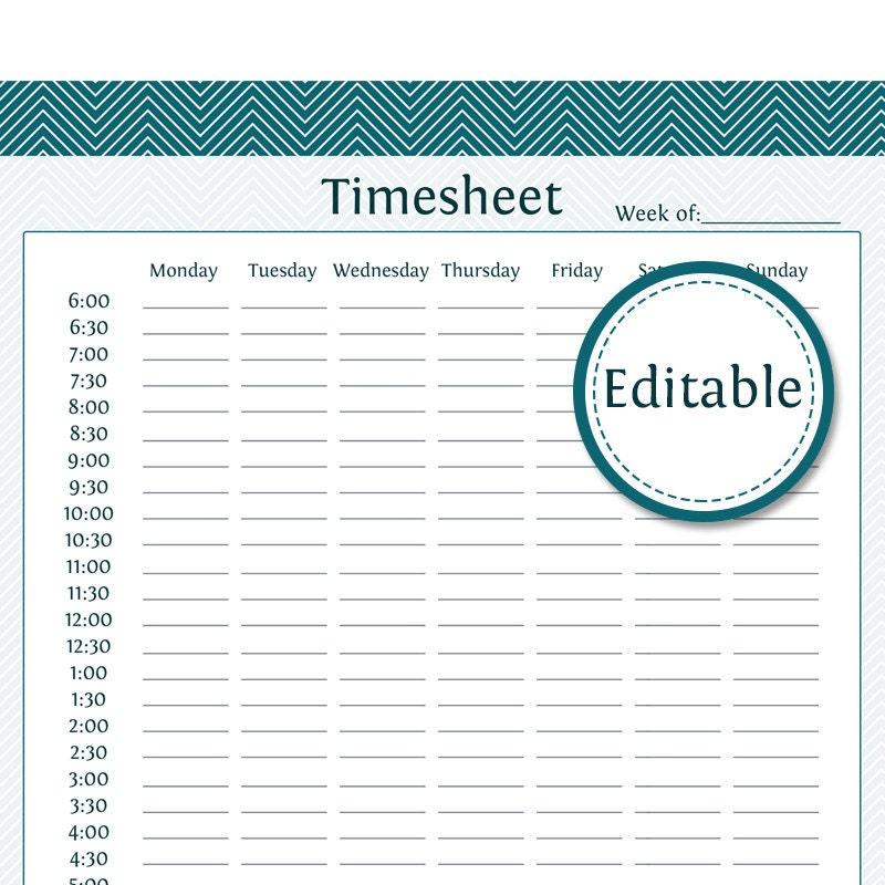 Fillable Timesheet Pdf Template Printable Editable Blank – Blank Timesheet Template