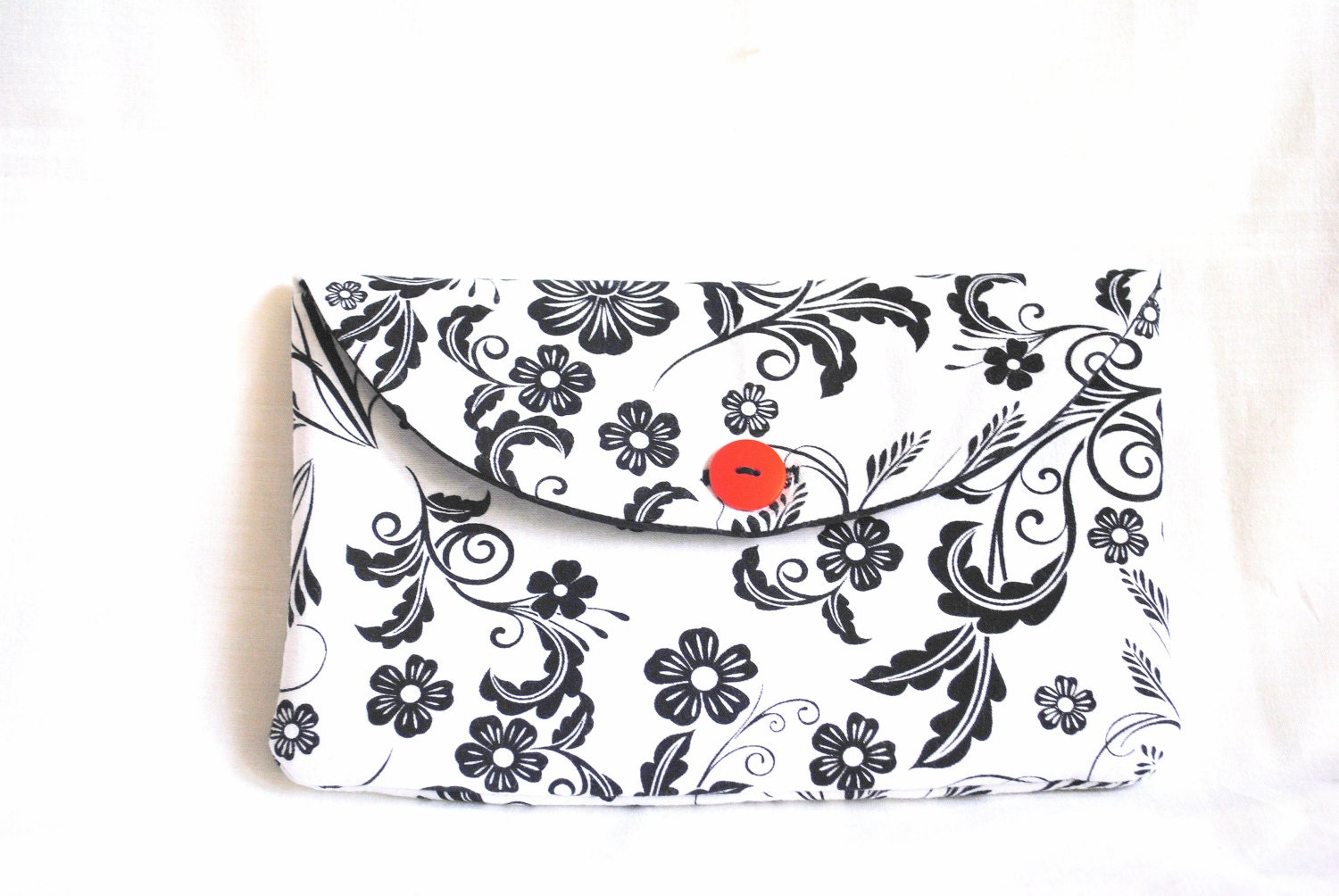Clutch: Black and White, Floral, Orange Button, Black Lining, Cotton