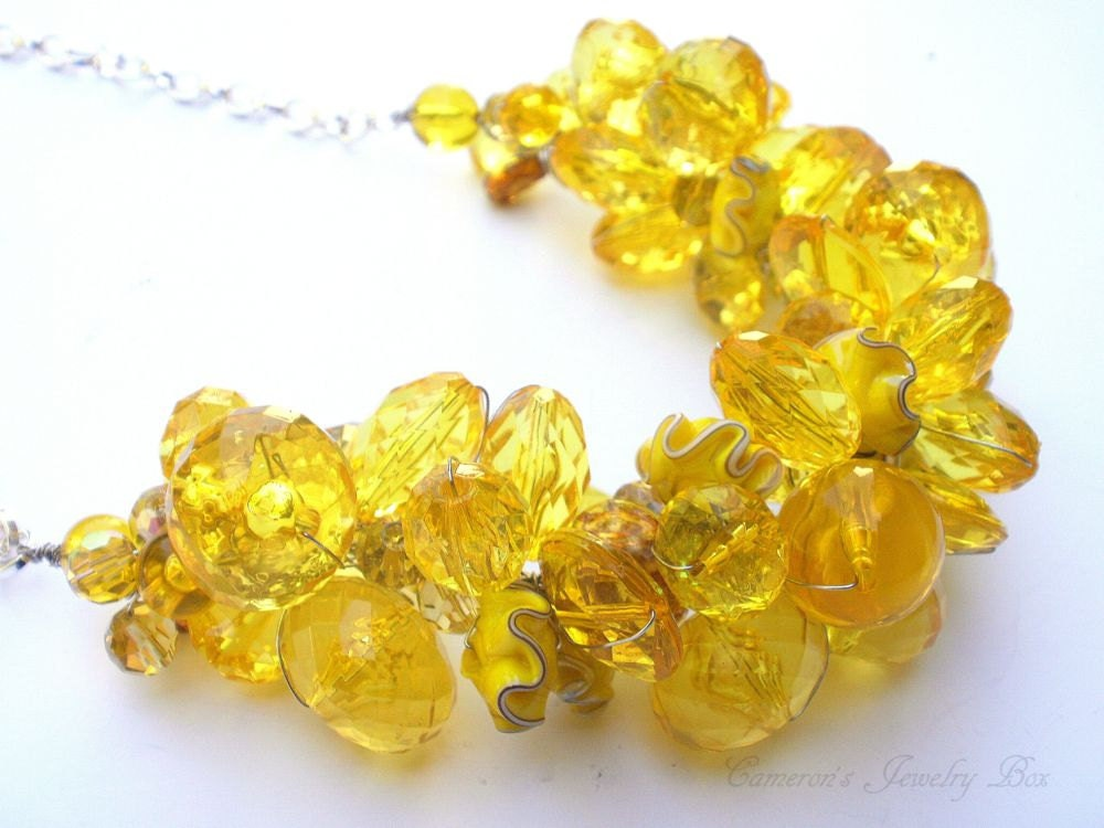 Yellow Beaded Necklace Chunky Statement by CameronsJewelryBox