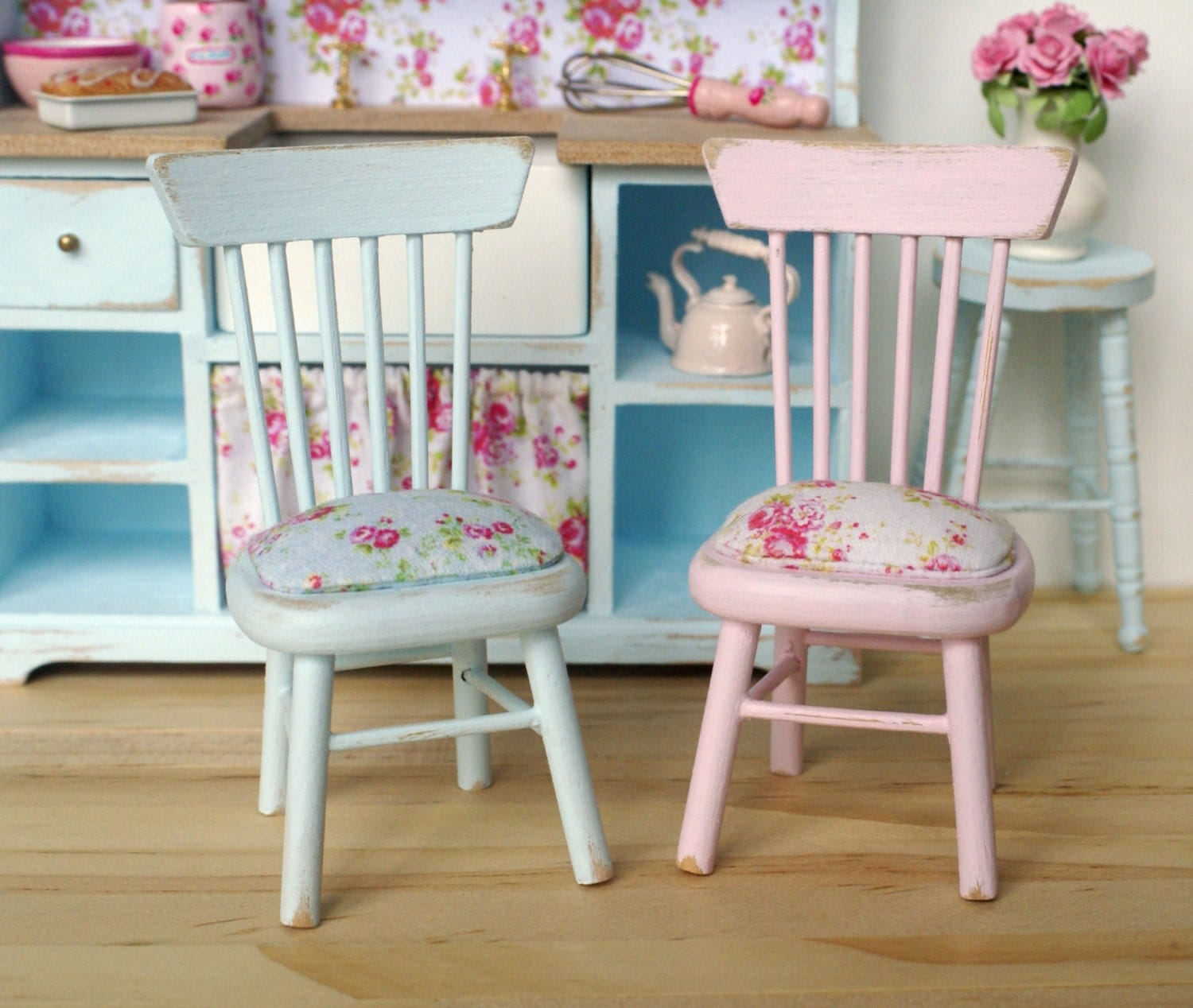 Set Of 2 Shabby Chic Rose Kitchen Chairs For Your By
