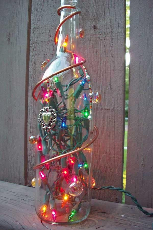 Decorated lighted glass bottle by glassbottlecrafts on etsy - How to decorate glass bottles ...