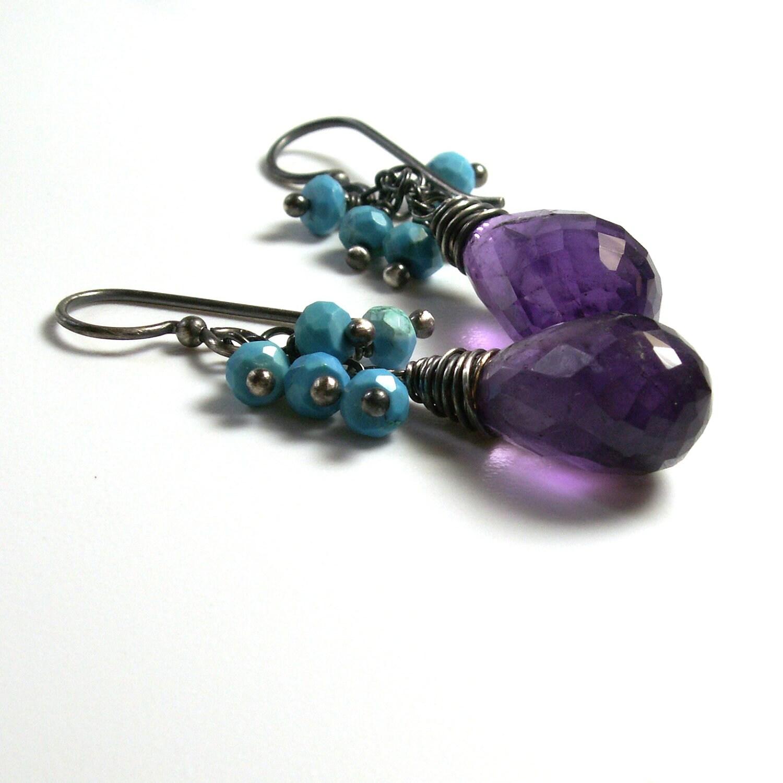 purple amethyst earrings turquoise earrings by vickiorion