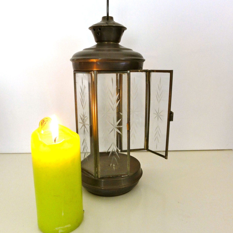 Vintage Candle Lantern Art Deco Ornate Hanging Outside Candle Lighting