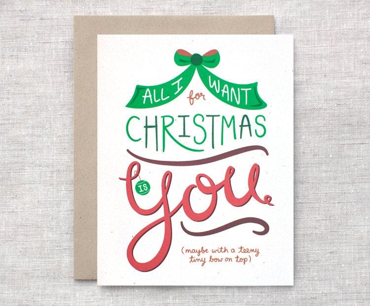 Items similar to cute christmas card funny all i want for Cute creative christmas cards
