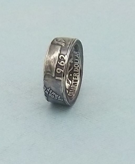 silver coin ring washington quarter year 1962 size 6 by