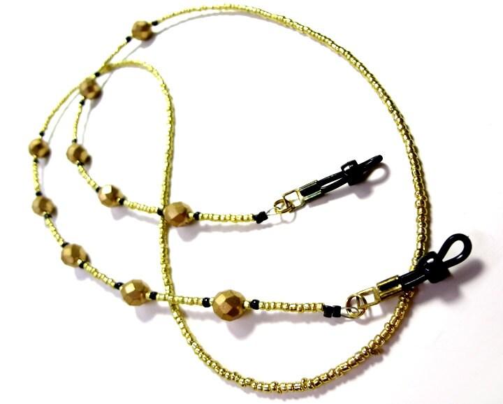 gold colored beaded eyeglass lanyard by megansbeadeddesigns