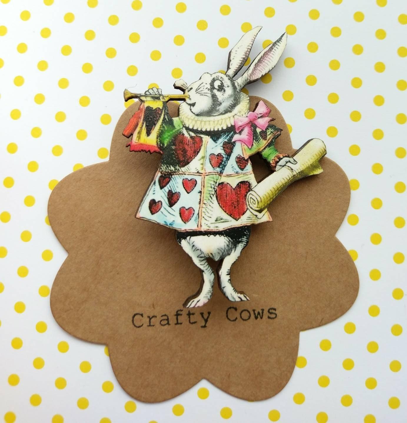 Alice in wonderland white rabbit brooch kitsch white rabbit badge white rabbit brooch Alice jewellery