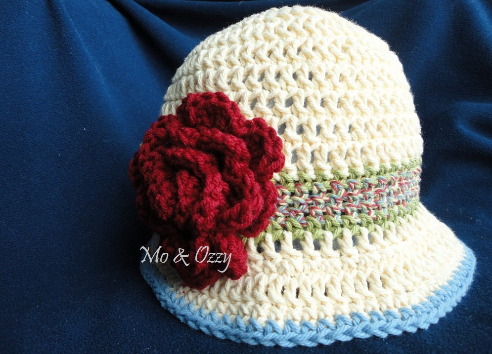 Free Shipping - Cotton Crochet Hat For Women - Buttercream and Burgandy Rose Cloche