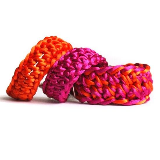 NEON pink & orange bracelet SET - 3 bracelets one PRICE - crochet bracelet  - trendy - bangle bracelet - wide bracelet - fashion jewelry - kaktusia