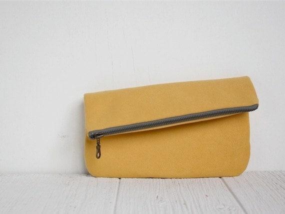 Fold Over Vegan Clutch in Honey Yellow