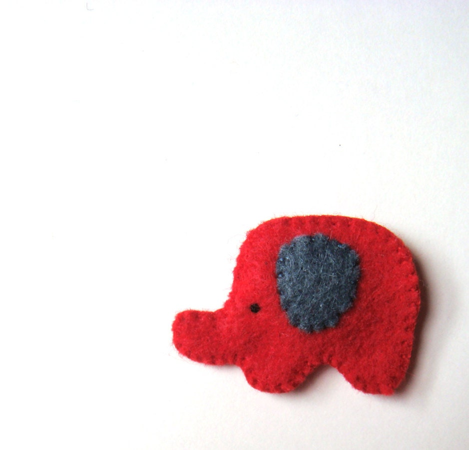 Cute Elephant Felt Brooch Red Grey Elephant Pin Handmade Felt Accessory Unisex Jewelry Christmas Holiday Gift for Him Her Stocking Stuffer - mikaart