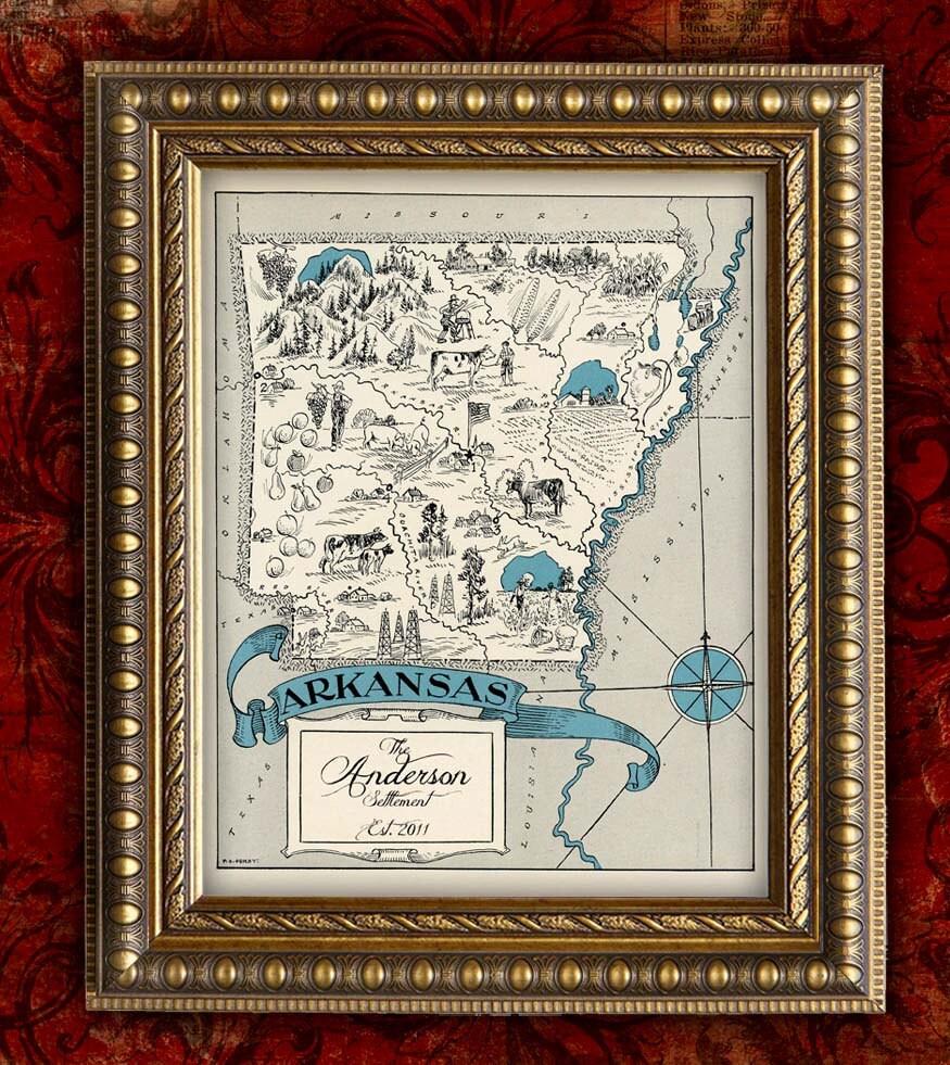 Custom map art print arkansas vintage retro by encoreprints for Classic housewarming gifts